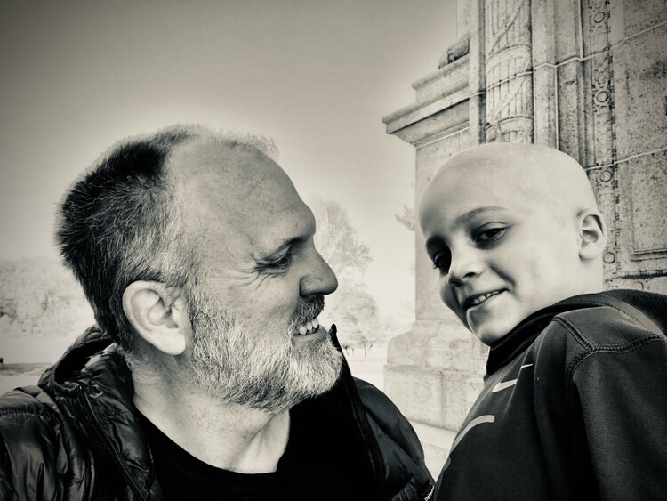 dad and lucas during treatment for acute myeloid leukemia